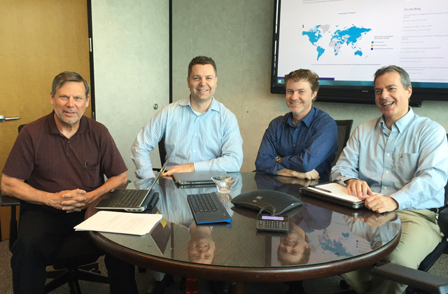 "At our ""command center"" during the VoLTE Roaming webinar, with (from left) me, Faron Achziger, Brian Beach and Les Goldman. Not pictured is Mike Carnes, who joined the webinar from another site."