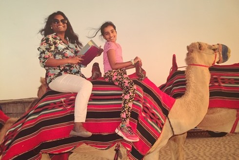 My daughter and I on a desert safari near Dubai.