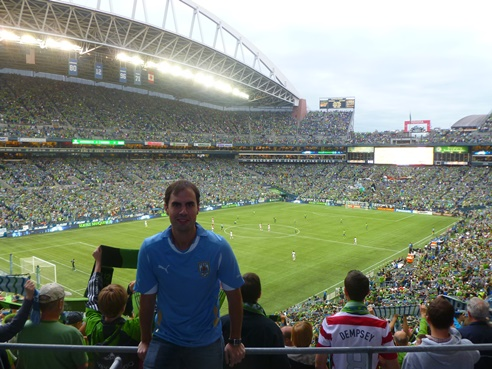 Enjoying a soccer game at CenturyLink Field during a visit to Seattle, Washington.