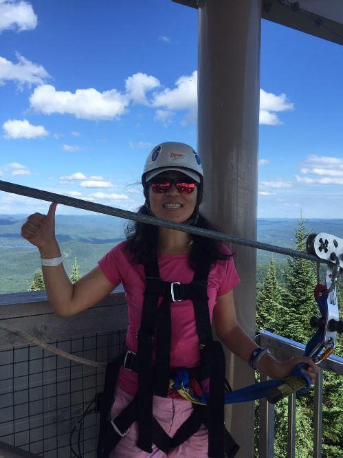 Ziplining in Tremblant, Canada.