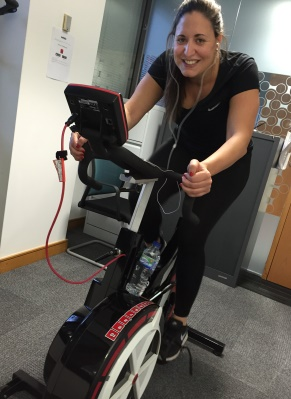 Paula Benito Claramunt, Customer Success Manager, pedals for Haven House at our London office.