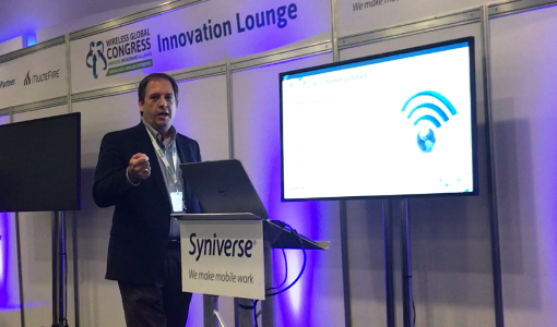 Me discussing Mobile Marketplace at the Innovation Lounge at Wireless Global Congress.