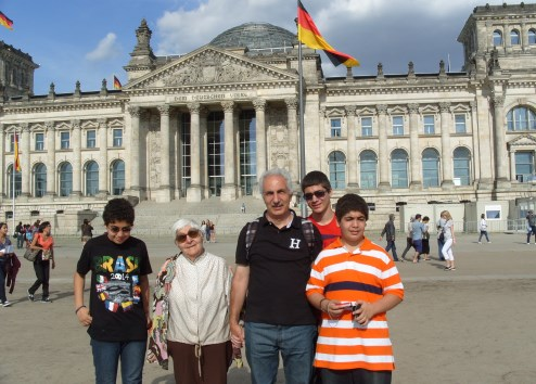 On the same vacation, in Berlin, at the Reichstag Building.