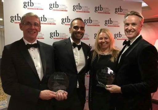 Our team at the GTB Innovation Awards: (from left) me; Imtiaz Esmail, CFO, Roshan; Anna Gussmann, Senior Customer Operations Director, Syniverse; and Alastair Hanlon, Vice President, Enterprise Solutions, Syniverse.