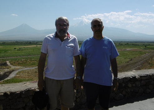 In Armenia, at the Khor Virap Monastery. Behind me (right) is the famous Mt. Ararat.
