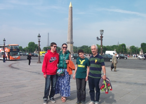 A family vacation in Paris, at the Place de la Concorde.