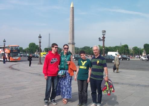 A family vacation in Paris, at the Place de la Concorde.