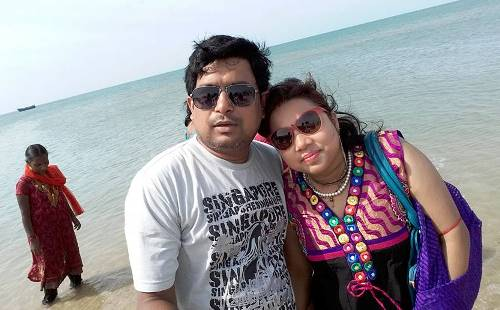 With my wife at Dhanushkodi, a city on the coast of Southern India.