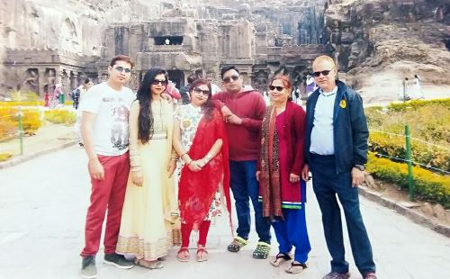 Visiting Ajanta Caves, a UNESCO World Heritage site in Central India, with my wife and family.